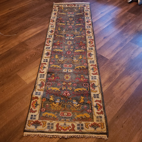 Handknotted 100% Wool Blue Runner Rug with Ivory Border with Animals