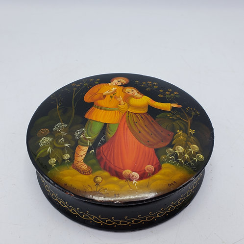 Vintage Round Russian Black Lacquered Box