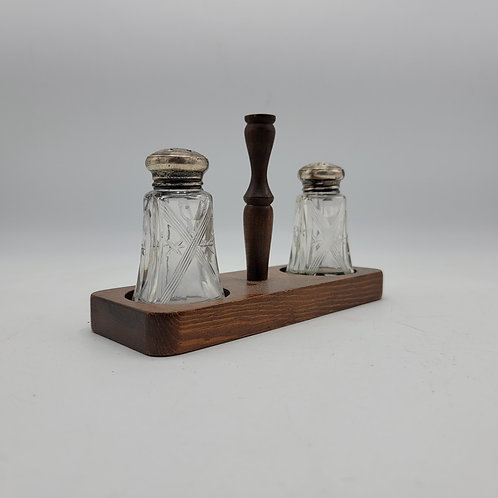 Vintage Cut Glass S&S Salt and Pepper Shakers on Wood Base with Sterling Caps