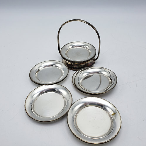 Set of 12 Miniature Silver Plate Plates with Carrier