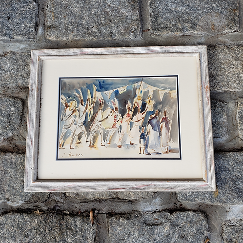 Signed J. Oates Taxco Mexico Band Watercolor Artwork Framed and Matted