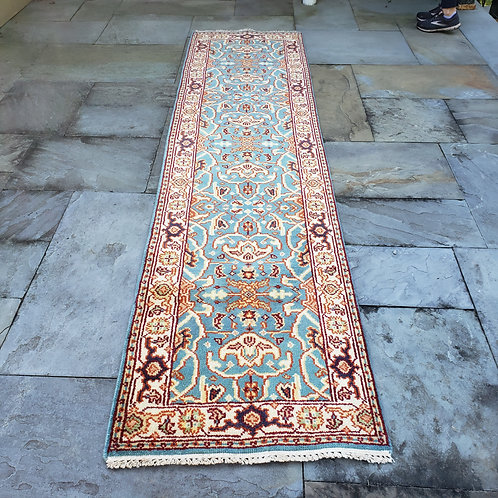 """Hand Knotted 100% Wool Cream & Light Blue Runner Rug with Orange ~ 2'5"""" x 9'10"""""""