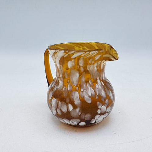 Miniature Molted Hand Blown Glass Pitcher with White Spots