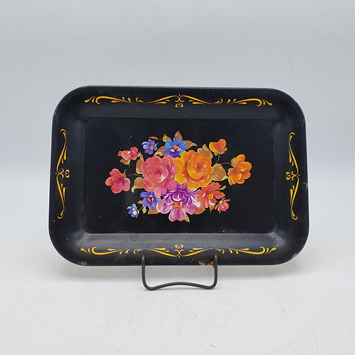 Small Handpainted Black Toleware Tray