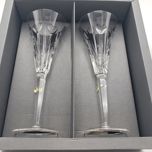 Pair of Waterford Crystal Millennium Toasting Love Champagne Flutes