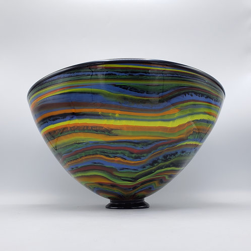 Vintage Large Signed Colorful Striped Seguso Viro Murano Glass Bowl