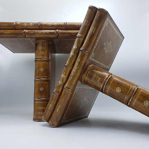 """Pair of Faux Leather Maitland Smith """"Book"""" Shelves """"Lord Jim"""""""