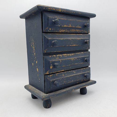 Dark Blue Miniature Distressed Painted 4 Drawer Chest
