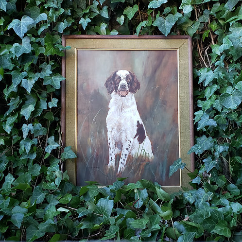 Original Vintage Oil Painting on Board by H. Shadduck-Bikul Dog Named Geronimo