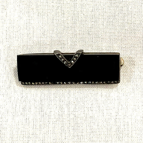 Vintage Sterling Silver & Black Onyx Pin with Marcasite