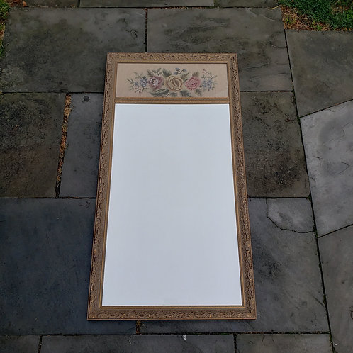 Vintage Mirror with Floral Needlepoint