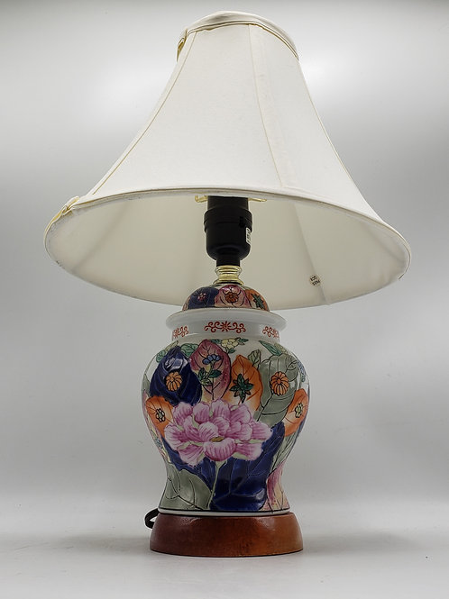 Vintage Porcelain Tobacco Leaf Lamp with Shade