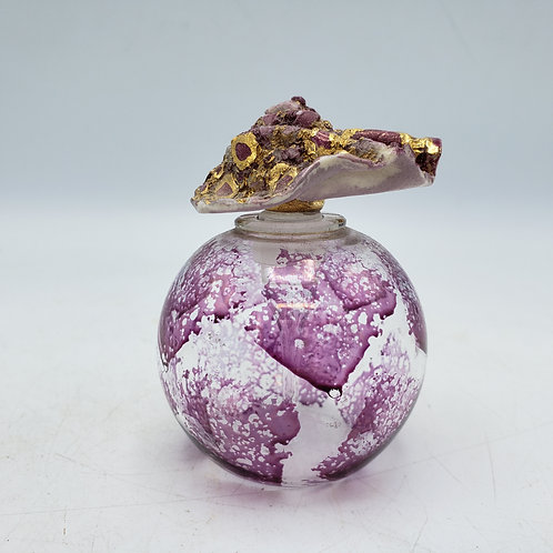 Art Glass Round Purple Sponged Perfume Bottle with Gold Flecked Ceramic Stopper