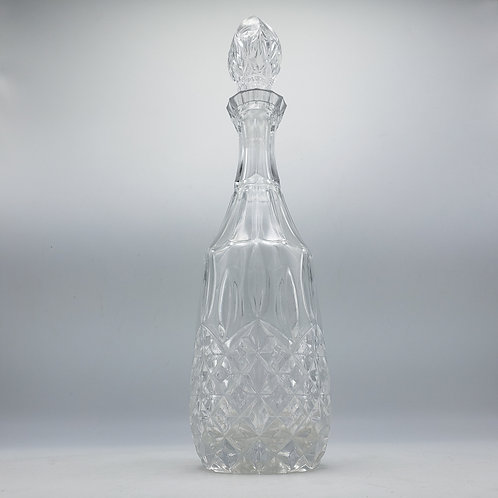 Vintage Cut Glass Decanter with Pointed Top Stopper