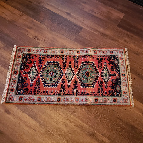 Handknotted 100% Wool Orange Rug with 5 Medallions