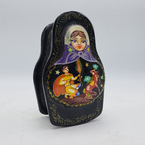 Small Black Lacquered Russian Hinged Box Shaped in Nesting Doll