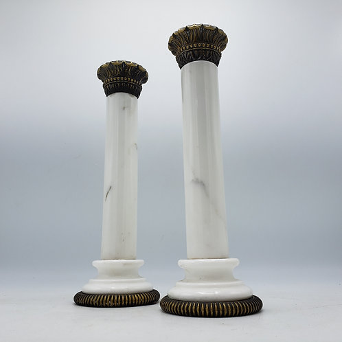 Pair of Pottery Barn Marble Candlestick with Bronze Mounts