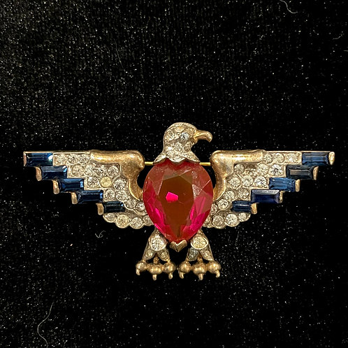 Vintage Sterling Silver Eagle with Stones