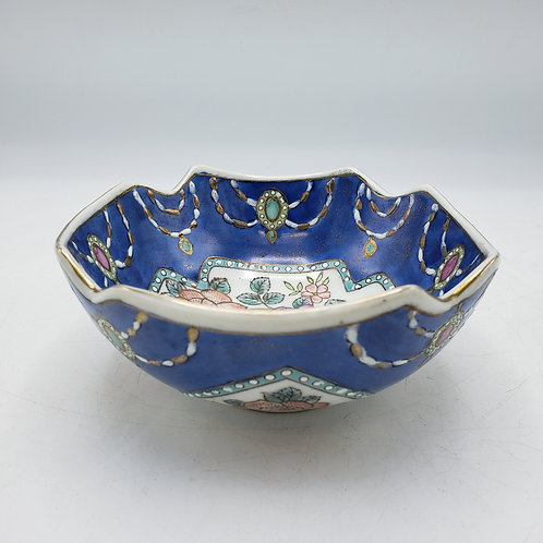 Small Blue Porcelain Bowl with Flowers