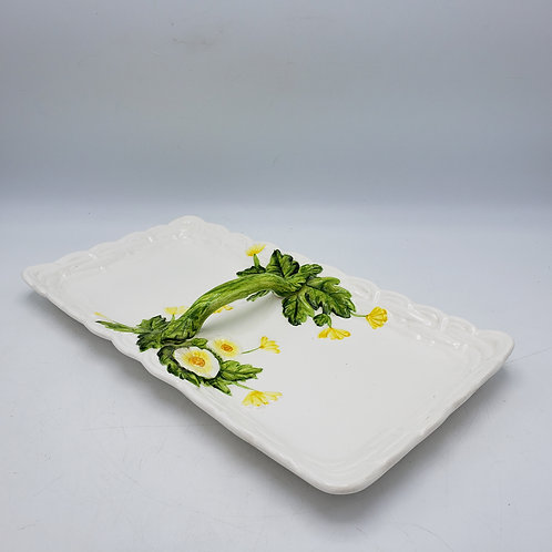 Vintage Lefton Porcelain Divided Relish Tray with Flowers