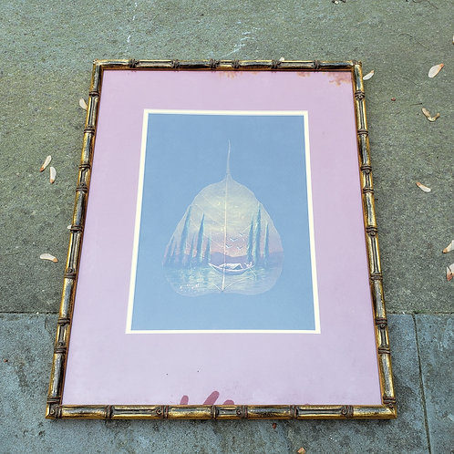 Original Painting on a Skeleton Pipal Tree Leaf in Faux Bamboo Frame