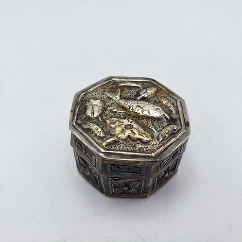 Small Octagon Pill Box with Fish on Top