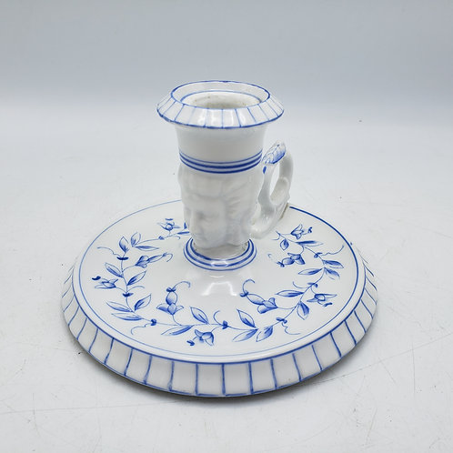 Vintage Blue and White Candlestick with Faces