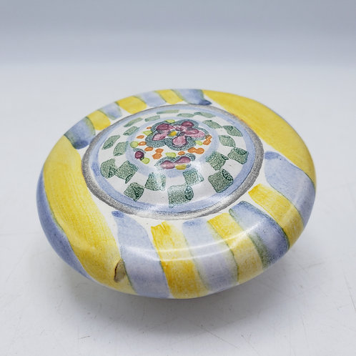 Hand painted MacKenzie Childs Porcelain Knob Yellow & Blue Striped