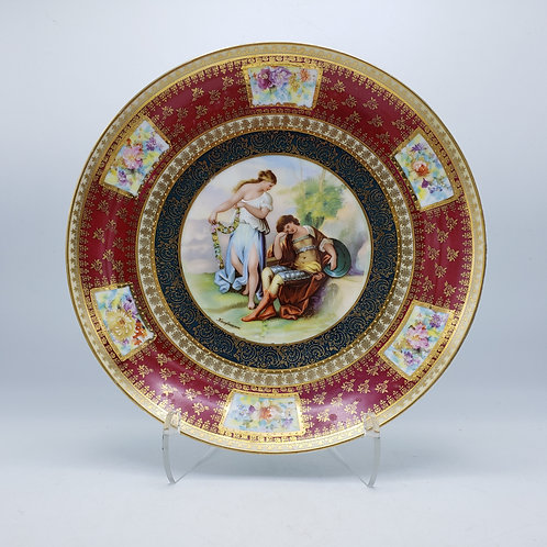 Stunning Large Hanging Handpainted Kaufmann Austrian Cabinet Plate of Couple