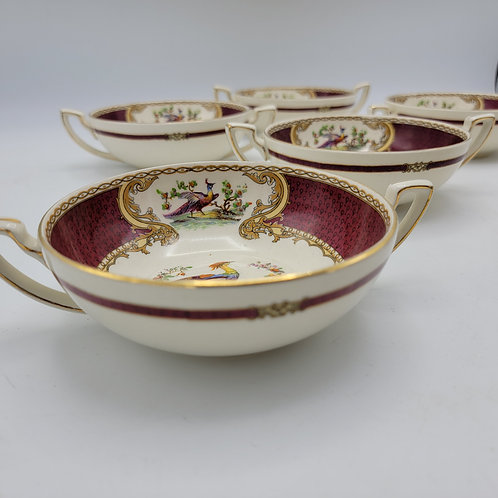 Set of 6 Chelsea Bird Red Enamel by Myott Staffordshire Flat Cream Soup Bowl
