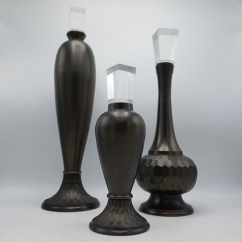 Set of 3 Montaage Decorative Bottles with Lucite Stoppers