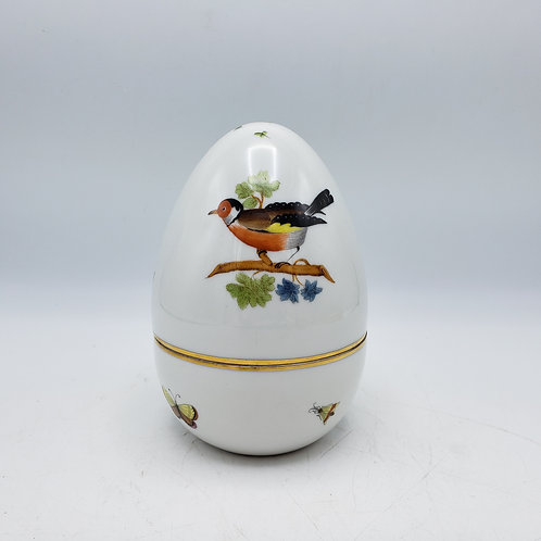 Large Porcelain Herend Rothschild Lidded Bonbon Dish Egg Form 2 Piece 6041 / RO