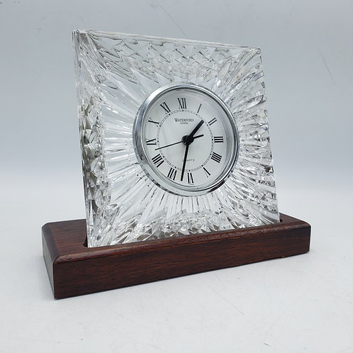Waterford Crystal Clock on Wooden Stand
