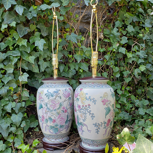 Pair of Porcelain Asian Lamps Decorated with Flowers