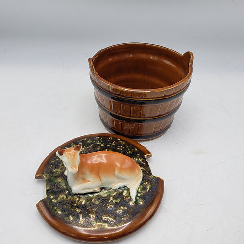 """Vintage Majolica Butter Dish with Cow Finial ~ 6"""""""