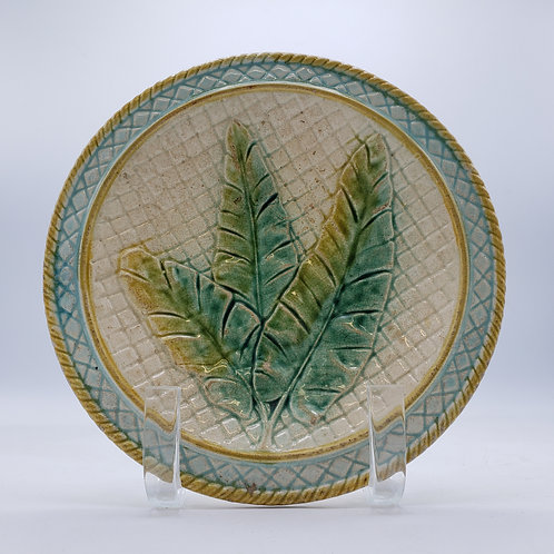 Vintage Majolica Round Plate with Leaves