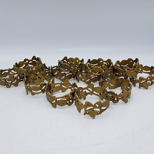 Set of 15 Vintage Brass Napkin Rings Decorated with Leaves & Grapes