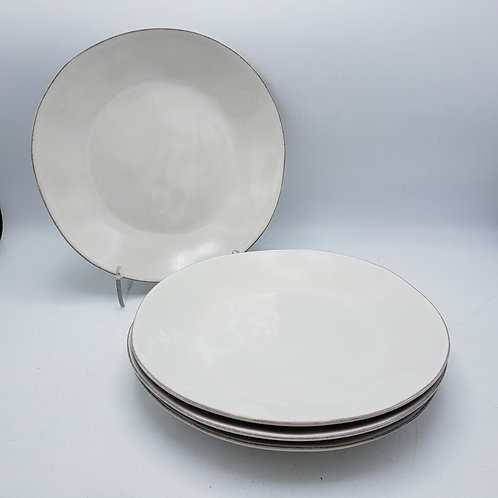 Set of 4 White Marin Dinner Plates by Crate & Barrel