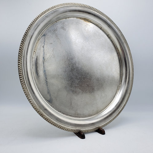 Vintage Etched Round Silverplated Serving Tray