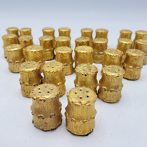 14 Pairs of Small Gold Gilt Salt & Pepper Shakers
