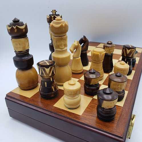Chess Set with Pieces Carved From Tagua Nuts