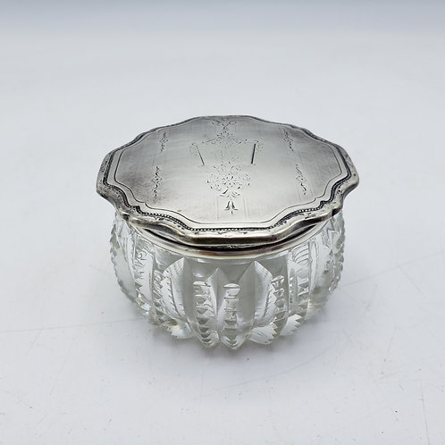 Small Vintage Crystal Box with Sterling Silver Lid