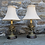 Thumbnail: Pair of Bronze Table Lamps with Swags