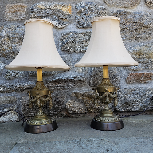 Pair of Bronze Table Lamps with Swags