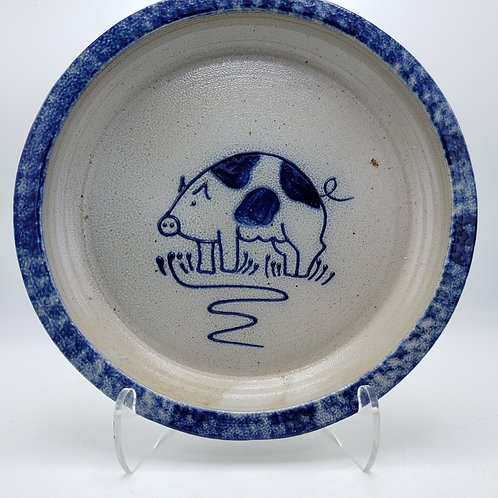 Vintage 1991 Eldreth Pottery Pie Plate with Pig