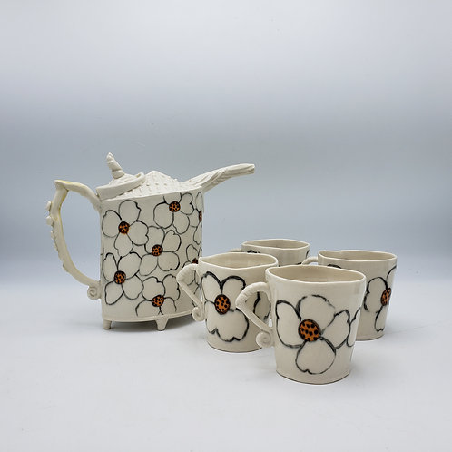 5 Piece Signed Studio Art Pottery Teapot with Cups