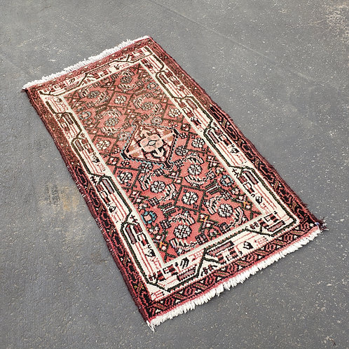 """Hand Knotted Wool Small Red Rug ~ 2' 1"""" x 3' 10"""""""