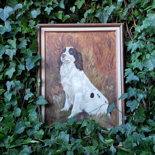 Original Vintage Oil Painting on Board by H. Shadduck-Bikul Dog Named Cloud