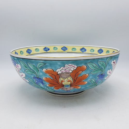 Vintage Hand Painted Japanese Asian Bowl - Green with Orange Flowers