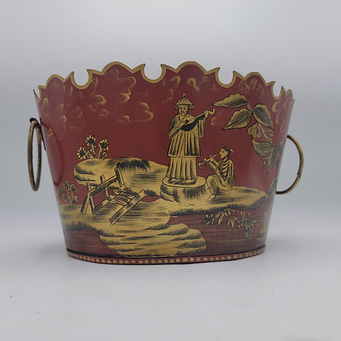 Vintage Tin Planter - Chinoiserie Style (Red)